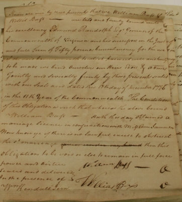 William Bass-Ann Sammon 1786 Marriage Bond (Witnessed By Willis Bass)
