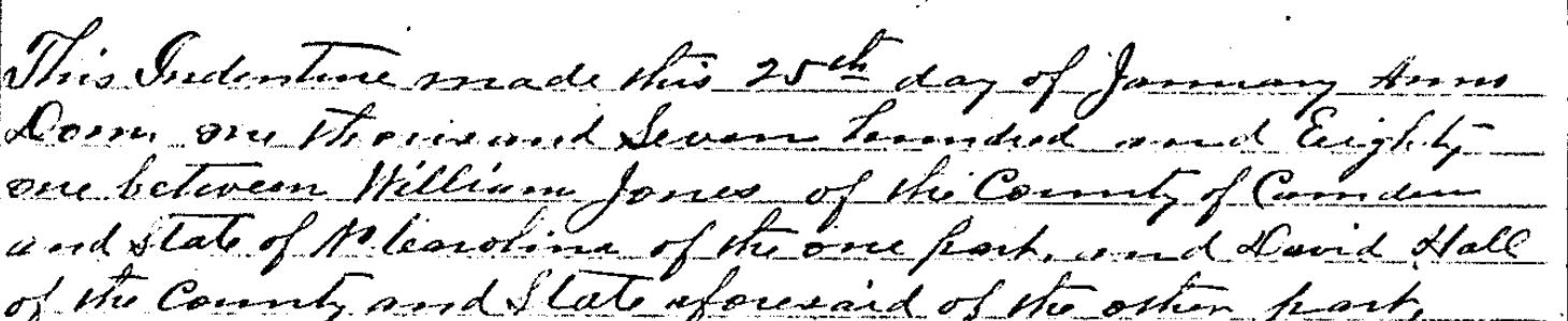 William Jones David Hall 1781 Deed