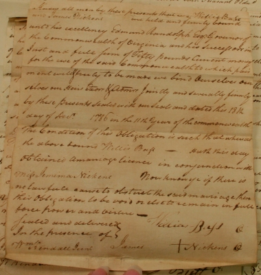 Willis Bass-Jemima Nickens 1786 Marriage Bond (Witnessed By James Nickens)
