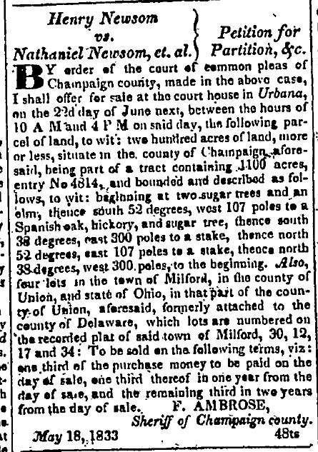 Henry Newson vs Nathaniel Newsom et al 1833