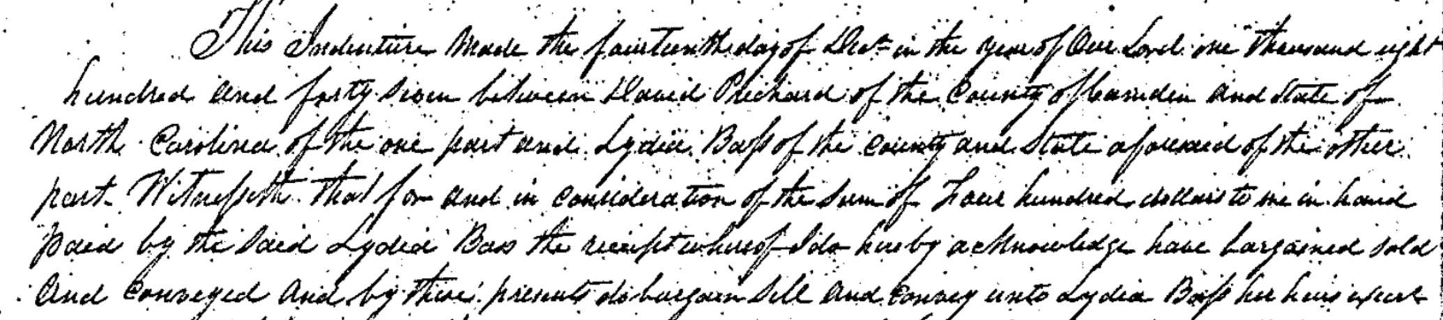 David Pritchard Lydia Bass 1847 Deed.png