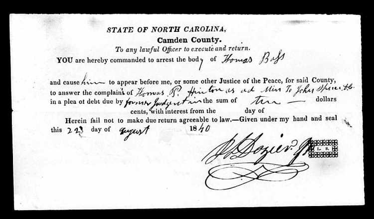 Warrant for Thomas Bass