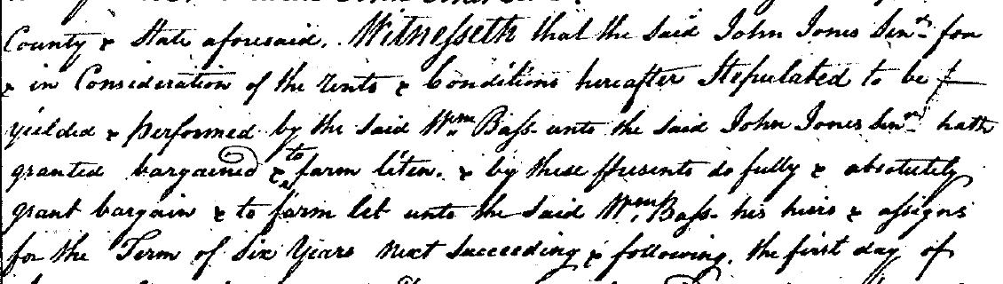 William Bass 1793 Lease