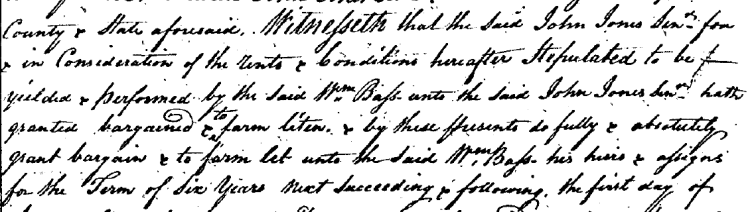 William Bass 1793 Lease