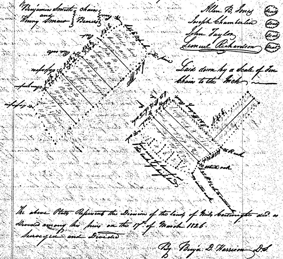 Miles Cartwright 1826 Land Division