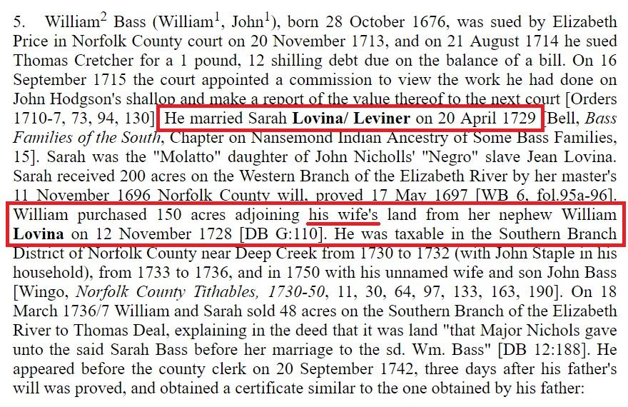 William Bass Chronology