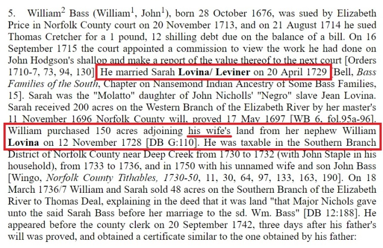 William Bass Chronology
