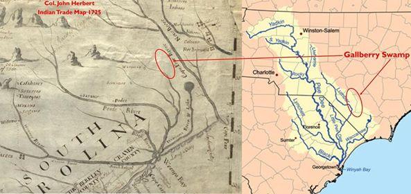 Col. John Herbert Indian Trade Map 1725 Gallberry Swamp